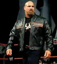 WWE Bill Goldberg Harley Davidson Moto Vintage Biker Black Leather Jacket Coat