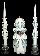Photo Custom hand-carved picture Wedding Unity Candles Set - Personalized! *