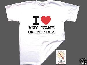 I LOVE NY t-shirt PERSONALISE ANY NAME/INITIALS. S-XXXL