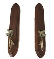 "Home Interior Wood Brass Taper Votive Holder Wall Sconces MCM Vintage 18"" long"