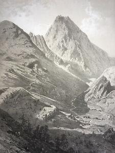 PIC MIDI DE BIGORRE Pyrenees LITHOGRAPHIE Eugene Ciceri TREMES AIGUES 1860