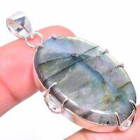 "Labradorite Gemstone Handmade 925 Silver Jewelry Pendant 2.05"" VK-1813"