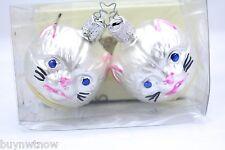 Vtg Cat Xmas Gordon Fraser Schmid Ornaments Kitty Faces 1970s Glass Nib Pair