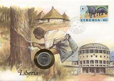 superbe enveloppe LIBERIA pièce monnaie 5 cents 1977 UNC NEW NEUF timbre