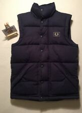 YOUTH Black Fred Perry Navy Blue Quilted Gilet Jacket MEDIUM VINTAGE WINTER SKI