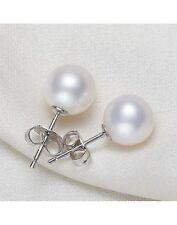 5-5,5mm rund Natürliche Süßwasser Perlen Schmuck Ohrringe Ohrstecker 925 Silber