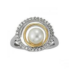 NEW LADIES 14k TWO-TONE GOLD DIAMOND AND WHITE FRESHWATER PEARL RING BAND