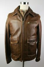 Mens Schott Waxy Cowhide Leather Delivery Jacket Model 563 USA Medium Flannel