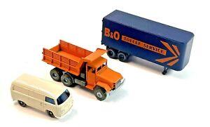 HO Various  Vehicles Lot of 3 - Dump Truck, Van and B & O Trailer