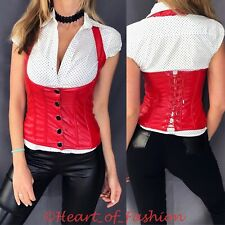 SEXY Faux Leather Button Front Corse Lace Up Back Fitted Halter Vest Club Top