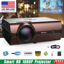 Smart HD 1080P Projector LED 4K Android 6.0 WiFi 3D Home Cinema Movie BT HDMI