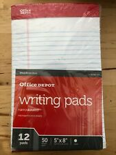 """Pack 12 Office Depot Professional 5x8"""" Narrow Ruled White Hard-back Writing Pads"""