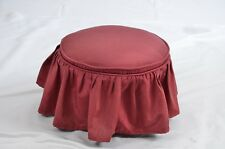 "Antique Fabric Stool Bedside Covered footstool wooden legs skirted 13"" x 10"""