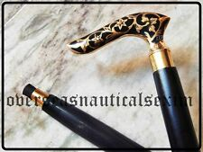 Vintage Victorian  Black Designer solid Brass Handle Wooden Walking Cane Stick