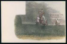 art Horse artist drawing print original old c1910-1920s postcard aa03
