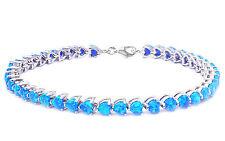 Blue Fire Opal Heart .925 Sterling Silver Bracelet