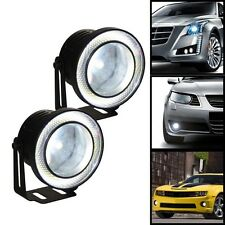 "2x Car 10W High Power 3.5"" Projector LED Fog Light COB WHITE Angel Eyes Rings."