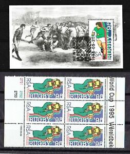 SOUTH AFRICA RSA 1995 World Cup Rugby Championship MNH  SOUVENIR SHEET, 6 stamps