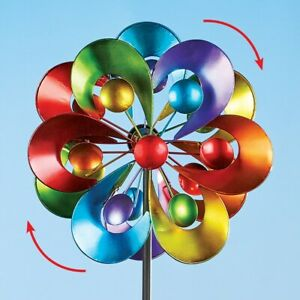 4 Foot Tall Colorful Double Rainbow Kinetic Wind Spinner Garden Stake