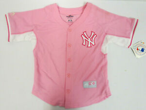 NEW YORK YANKEES YOUTH TODDLER 6X MAJESTIC JERSEY PINK STITCH GIRLS MLB BASEBALL