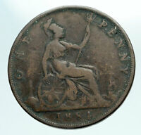 1884 UK Great Britain United Kingdom QUEEN VICTORIA Genuine Penny Coin i84224