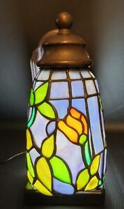 Pair of Stained Glass Wall Sconces Beautiful Blues & Golden Yellow