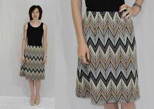 Vintage 70s Black Gray Tan ZIG ZAG Stripe A Line Midi Retro Secretary Skirt S M
