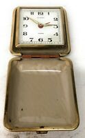Vintage Sloan Travel Alarm Clock Made Japan Clam Shell case Wind Up Mech Works