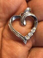 Sterling Silver 925 Heart Pendant Marcasite  Cubic Zirconia  ~ 4 Grams  ~