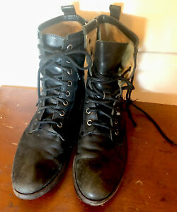 Frye carson combat moto lace up distressed Boots womens size 6.5 ankle boots blk