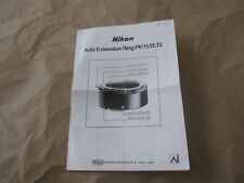 Vintage Nikon Auto Extension Ring PK-11,12,13 Instruction Manual