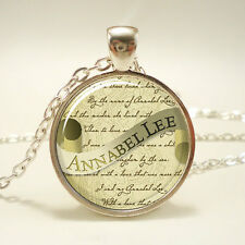 Edgar Allan Poe Necklace, Annabel Lee, Gothic Jewelry, Silver Plate
