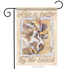 """Better By the Beach Summer Garden Flag Nautical Shells Surf Sand 13"""" x 18"""""""