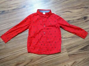 Gymboree Boys Red Navy Button Down Shirt With Collar Christmas Size 5T