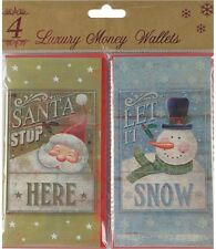 Pack Of 4 Christmas Money Wallet Gift Cards & Envelopes - Santa Claus & Snowman