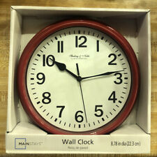 Sterling & Noble 8.78 in. Diameter Quartz Wall Clock Decorative Plastic White