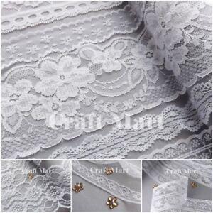 VINTAGE antique Snow white LACE RIBBON WEDDING sewing Bridal Shabby dress diy