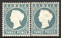 Gambia 1886 slate-grey 3d grey 3d crown CA mint SG28/29