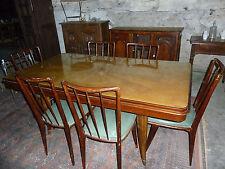 Ref 817 Table placage de citronnier Chaises vintage dessus skai vert vers 1960