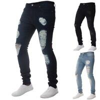 Herren Jeans Stretch Denim Zipper K-new Hose Slim Fit Skinny Zerrissen Destroyed