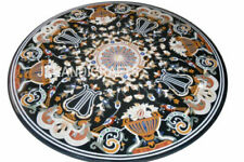 "35"" Black Marble Coffee Table Top Beautiful Flowers Design Inlaid Work"