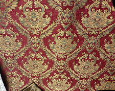 Chenille Antique Inspired French Brocade  Fabric Dark Red/gold Upholstery