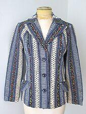 Vtg 70s Mod Blue Cotton Gingham Calico Dots Ruched Strip Disco Blazer Jacket 10