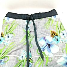 OP Ocean Pacific Mens Gray/Blue/Green Floral Board/Swim Shorts Size M (32-34)