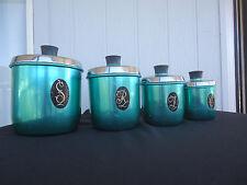 vintage retro jason model maid kitchen canisters anodised aluminium green set