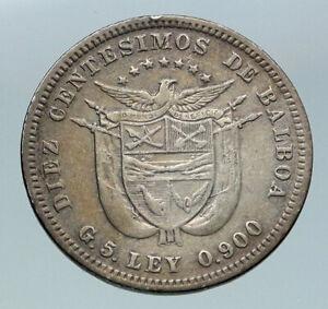 1904 PANAMA CONQUISTADOR BALBOA Antique Genuine Silver 10 Centesimos Coin i86528