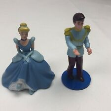"""Vintage Lot 2 pc Cinderella & Prince Charming Plastic Figures Cake Toppers 4"""""""