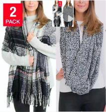 NEW Emanuel Geraldo Womens Infinity Scarf 2-Pack - Black / Pink / Gray
