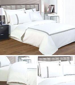 Luxury Egyptian Cotton Duvet Cover Pillowcase Set White 330 Thread Count