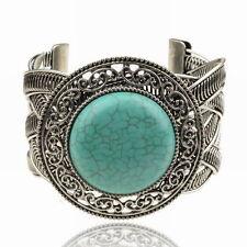 Thboxs Tibet Silver Turquoise Friendship Wristband Cuff Open Bangle Bracelet